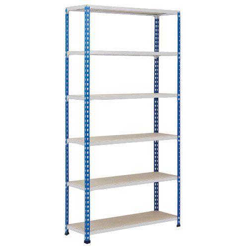 Rapid 2 Shelving (2440h x 915w) Blue & Grey - 6 Chipboard Shelves