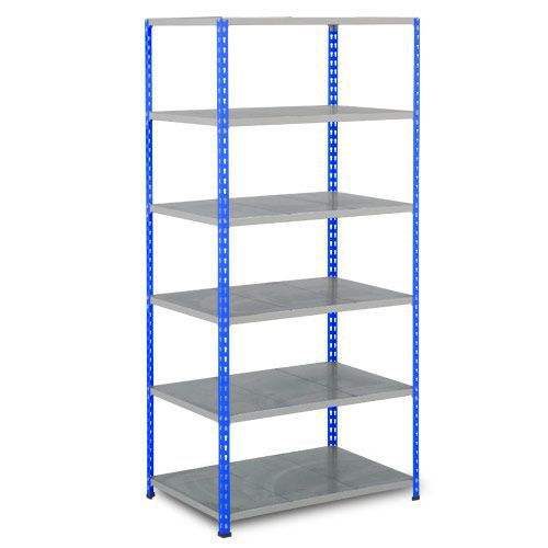 Rapid 2 Shelving (2440h x 915w) Blue & Grey - 6 Galvanized Shelves