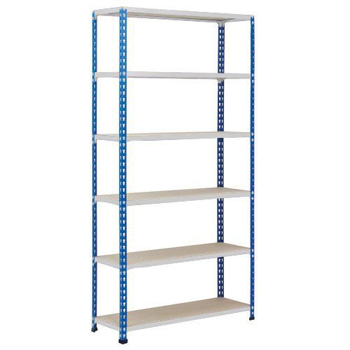 Rapid 2 Shelving (2440h x 1220w) Blue & Grey - 6 Chipboard Shelves