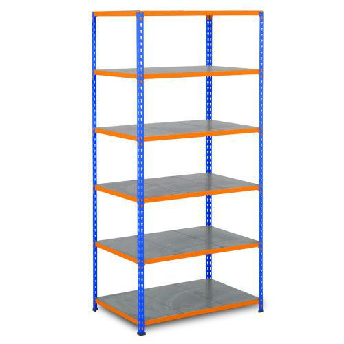 Rapid 2 Shelving (2440h x 1220w) Blue & Orange - 6 Galvanized Shelves