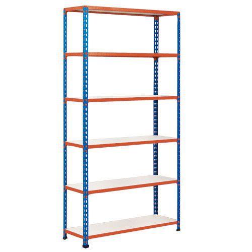 Rapid 2 Shelving (2440h x 1220w) Blue & Orange - 6 Melamine Shelves