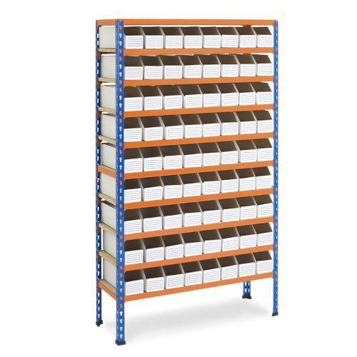 Rapid 2 Shelving (1600h x 915w) 72 Cardboard Picking Bins