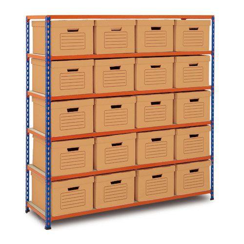 Rapid 2 Single Storage (1600h x 1525w) 20 Brown Document Boxes