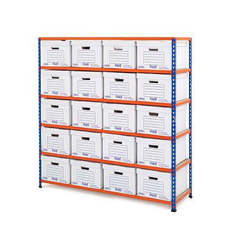 Rapid 2 Single Storage (1600h x 1525w) 20 White Document Boxes