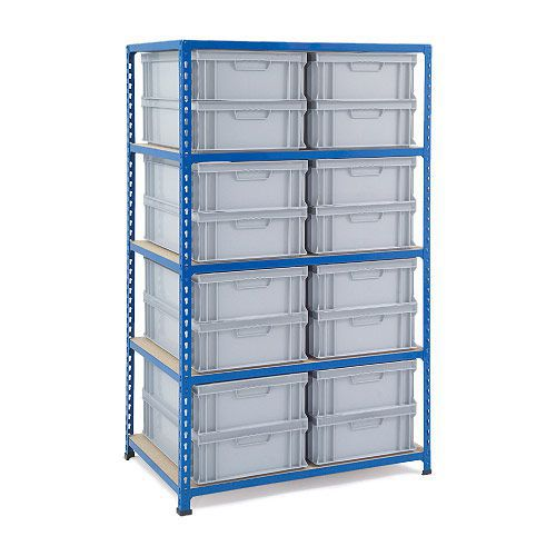 Rapid 2 Shelving (1600h x 915w) 16 Solid Euro Containers