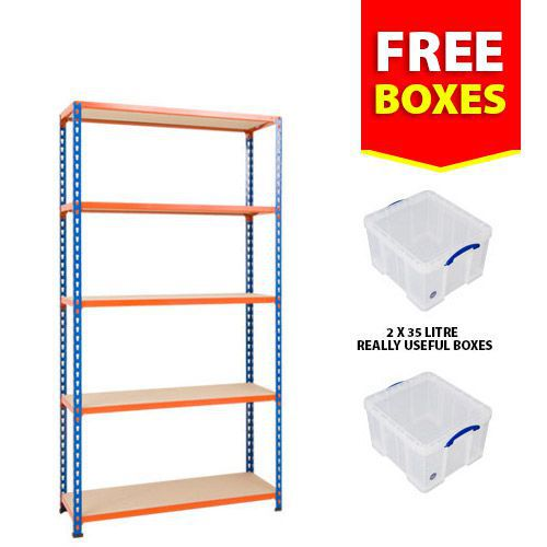 Rapid 2 Shelving Bay Offer - 2 Really Useful Boxes