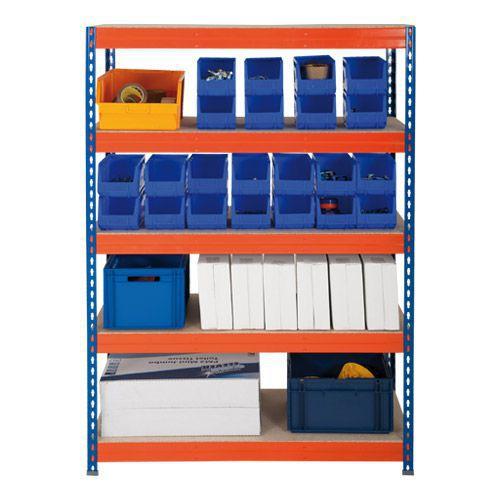 Rapid 3 Shelving (1800h x 900w) Blue & Orange - 5 Fibreboard Shelves