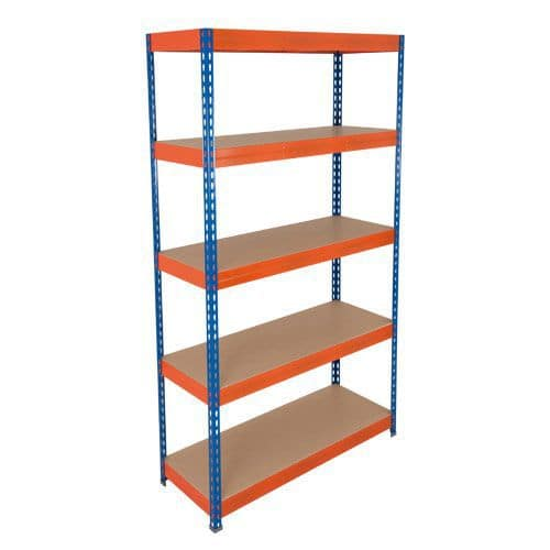 Rapid 3 Shelving (1800h x 1200w) Blue & Orange - 5 Fibreboard Shelves