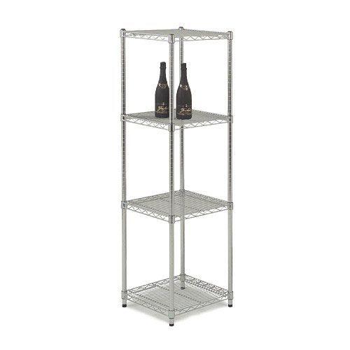 Chrome Square Tower Unit - 4 shelves