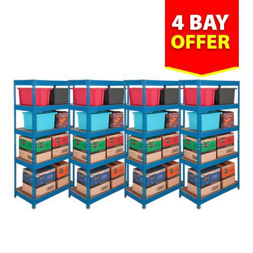 4 Budget Shelving Bays Offer - Blue