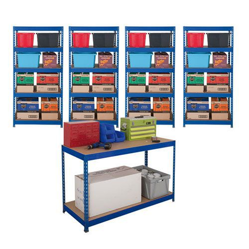 4 Budget Shelving Bays and 1 Rapid 3 Workbench