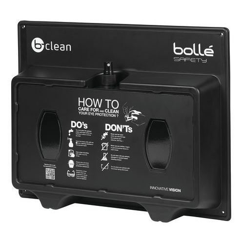 Wall-mounted lens cleaning station