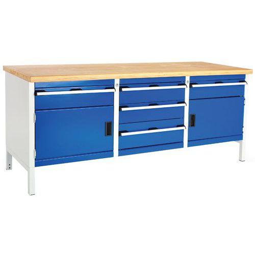 Bott Cubio Heavy Duty Workbench with 2 Cupboards & 5 Drawers