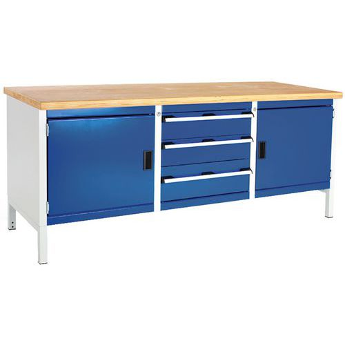 Bott Cubio Heavy Duty Workbench with 3 Drawers & 2 Cupboards