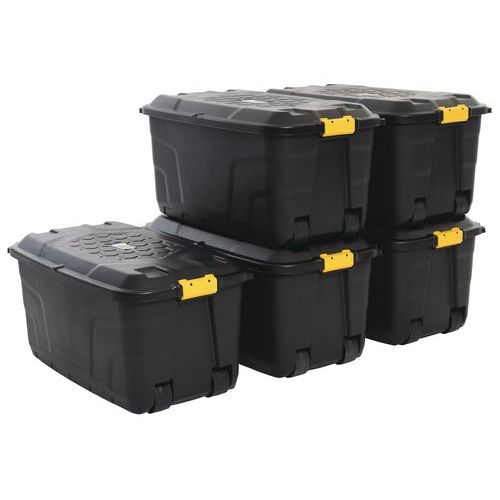 Strata Storage Boxes With Wheels 145L   Pack Of 5