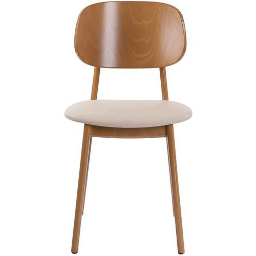 Lunar Wooden Diner Chairs with Faux Leather Seat