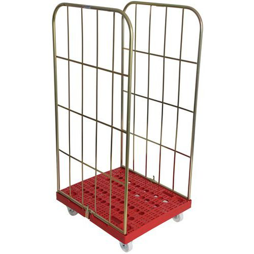 Roll Pallet With Plastic Base And Removable Sides