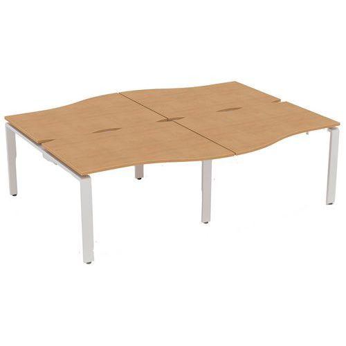 Aura 4 Person Wave Bench Desks