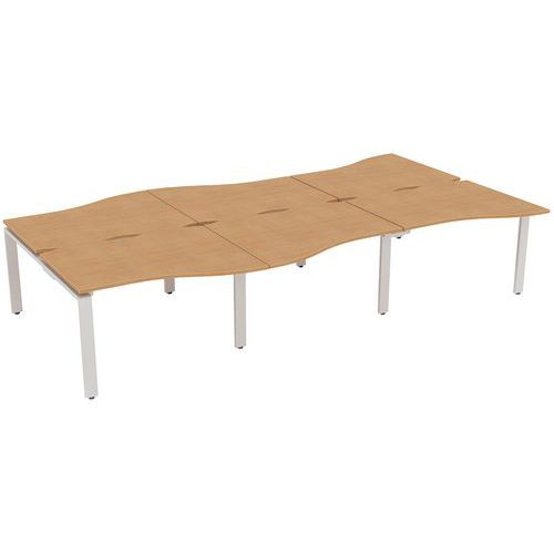 Aura 6 Person Wave Bench Desks