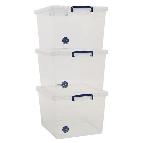 33.5L Really Useful Storage Boxes  - Pack of 3 - Transparent Plastic