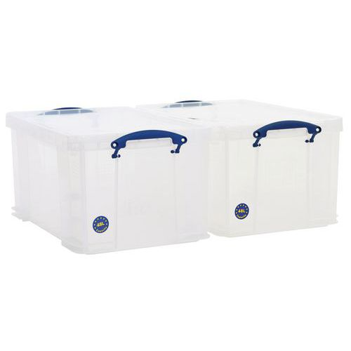 48 L Clear Really Useful Box Pack of 2