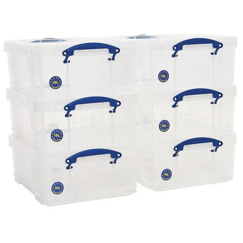 18L Really Useful Storage Boxes - Pack of 6 - Transparent Plastic