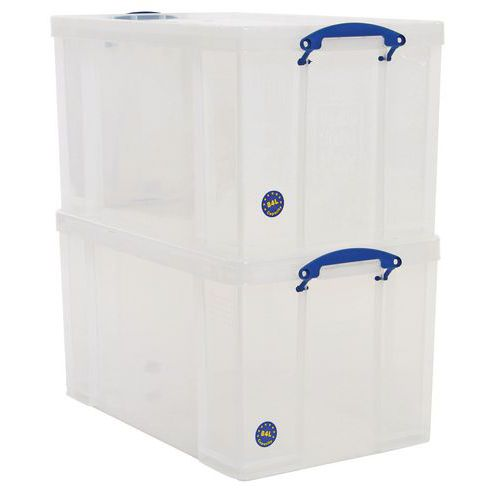 84L Really Useful Storage Boxes - Pack of 2 - Transparent Plastic