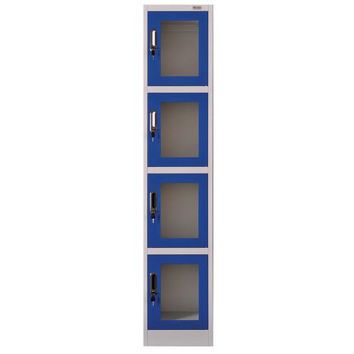Locker with 4 compartments and clear doors - Manutan
