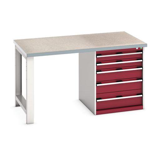 Bott Cubio Heavy Duty Workbench With Lino Worktop & Drawers HxWxD 840x1500x900mm