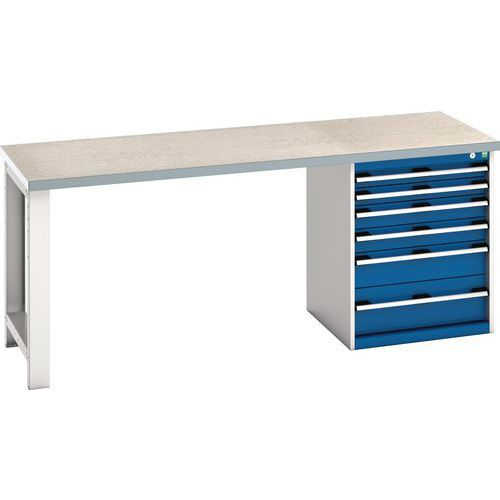 Bott Cubio Heavy Duty Workbench With Lino Worktop & Drawers HxWxD 840x2000x750mm