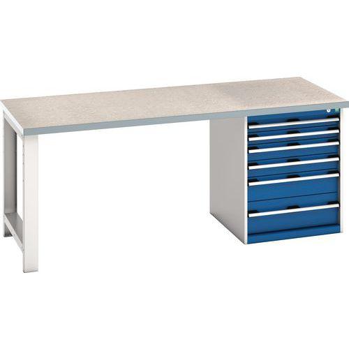 Bott Cubio Heavy Duty Workbench With Lino Worktop & Drawers HxWxD 840x2000x900mm