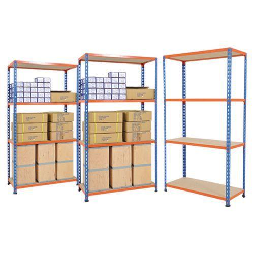 Rapid 2 - 3 Bay Offer - Blue & Orange with 4 Chipboard Shelves 1600h x 915w