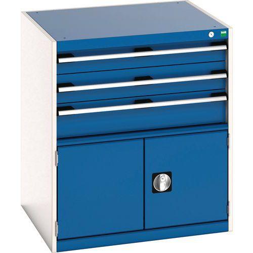 Bott Cubio Combi Cabinet Perfo Doors And 3 Drawers 900x800x750