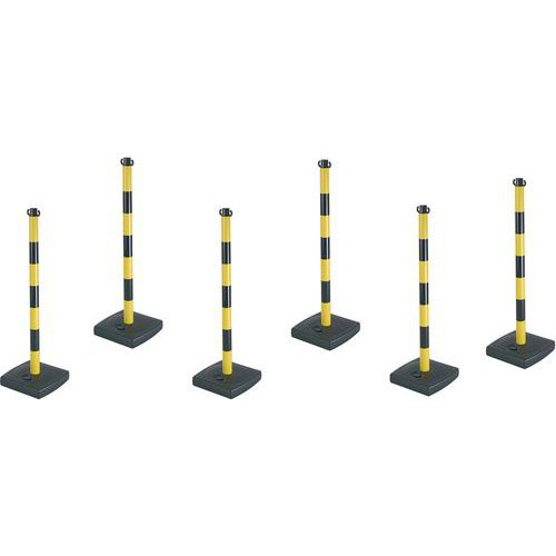 Post for chain on PVC base - Pack of 6