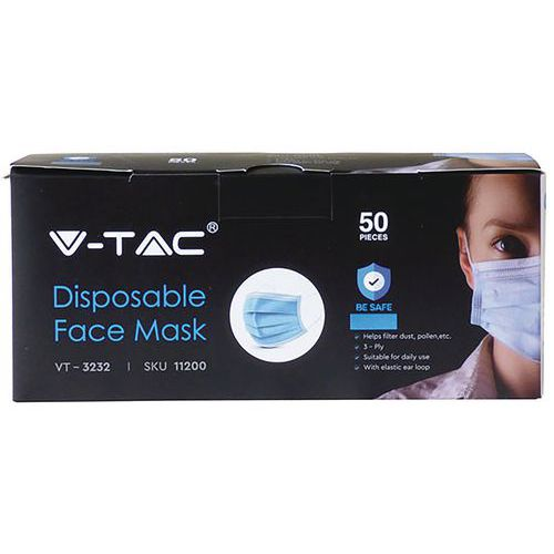 Disposable Face Mask V-TAC Box of 50