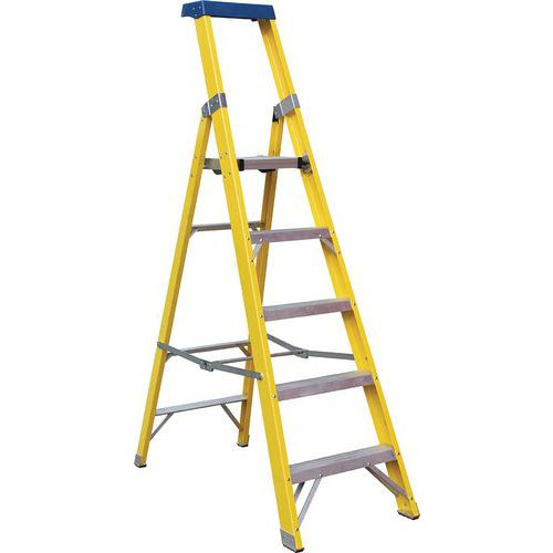 Fibreglass GRP Platform Step Ladder - 3 To 10 Steps