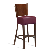 Leather bistro stool with wine coloured seat