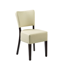 Cream faux leather bistro chair.