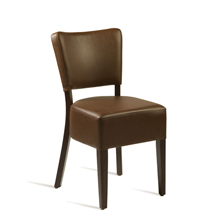 Brown faux leather bistro chair.