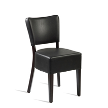 Black faux leather bistro chair.