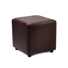 Brown faux leather cube stool.