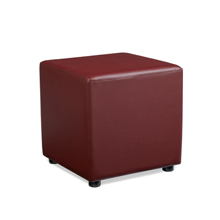 Red faux leather reception stool.