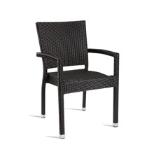 Black outdoor rattan chair with arms.
