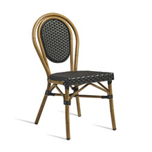 Black rattan chair.