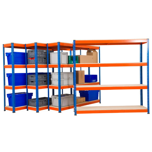 Heavy Duty Shelving 4 Bay Bundle Deal - HxWxD 1830x1830x455mm