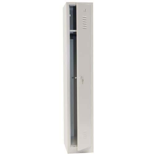 Single Storage Locker with Plinth - Grey Body & Cylinder Lock - 1800x315x500mm