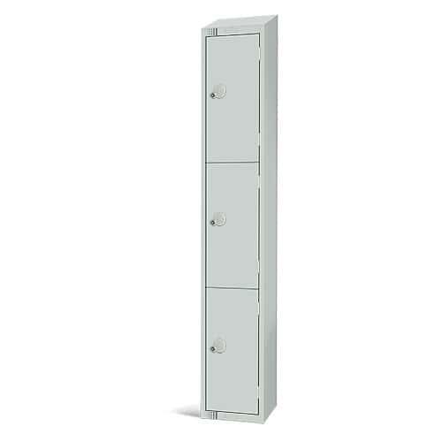 Elite Antibacterial Lockers - 3 Door - Sloping Top & Cylinder Lock - 1950x300x300mm