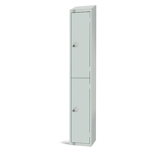 Elite Antibacterial Lockers - 2 Door - Sloping Top & Hasp Lock - 1950x300x300mm