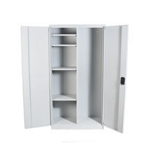 Wide Grey Utility Cupboard with space for mops and 4 shelves