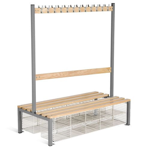 School Double Sided 12 Hook Bench Seat With Baskets